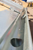 Roof under construction. Close up of zinc rain gutter royalty free stock images