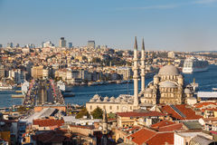 Roof Valide Khan, Galata Bridge and Yeni Cami Royalty Free Stock Images