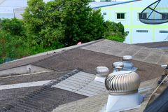 Roof Ventilator,Rotary fan,Ventilation in the building stock photos