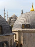 Roof view on the blue mosque. View from Hagia Sofia on over the roofs of the blue mosque in Istanbul Turkey Stock Photos