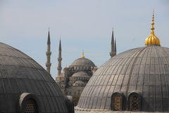 Roof view on the blue mosque. View from Hagia Sofia on over the roofs of the blue mosque in Istanbul Turkey Stock Images