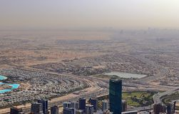 Roof view on Dubai from the 154th floor of the Burj Khalifa stock photos