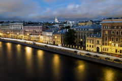 Roof view on the Fontanka river in St. Petersburg at evening ill Stock Photos