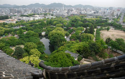 Roof View, Himeji Castle. A view over the roofs of the fairytale castle at Himeji, Japan's most iconic castle and a UNESCO World Heritage Site. The modern day Stock Images