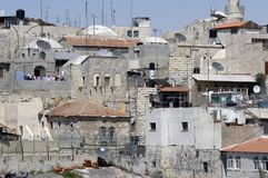 Roof View, Jerusalem. View of roofs in the Muslim Quarter of the Old City in Jerusalem, Israel.  Many satellite dishes and antennae can be seen in the picture Stock Photos