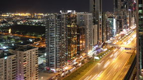 Roof view 4k time lapse on main street in dubai Stock Photography