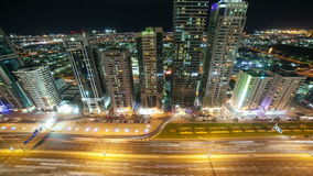 Roof view 4k time lapse on main street in dubai. Roof view time lapse on main road in dubai stock video