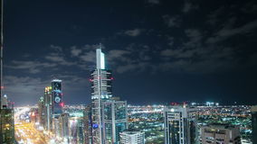Roof view 4k time lapse  on main street in dubai. Roof view time lapse on main street in dubai uae stock video footage