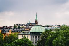 Roof view of Stockholm city. Roof view of Stockholm city and Handelshögskolan royalty free stock image