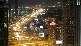 Roof view time lapse on main street in dubai. Roof view 4л time lapse  on main street in dubai stock footage