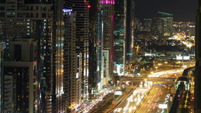 Roof view time lapse on main street in dubai. Time lapse from the roof on main street in dubai stock video footage