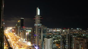 Roof view time lapse on main street in dubai. Roof view 4k time lapse on main street in dubai stock video footage