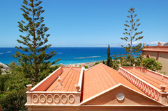 Roof of the villa and beach Stock Photography