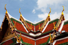 Roof of Wat Phra Kaew Grand Palace Temple, Bangkok. Close-up of the roof of Wat Phra Kaew Grand Palace Temple, Bangkok, Thailand Stock Photos