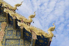 The roof of Wat Rong Sua Ten at Chiang Rai, Thailand - Buddhist. Temple Royalty Free Stock Photography