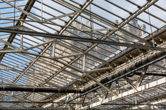 Roof of the Waverly Station in Edinburgh, Scotland. Edinburgh, Scotland - September 10, 2016: roof of Waverly Station with view to the Balmoral Hotel. Its the Royalty Free Stock Image