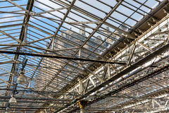 Roof of the Waverly Station in Edinburgh, Scotland. Edinburgh, Scotland - September 10, 2016: roof of Waverly Station with view to the Balmoral Hotel. Its the Royalty Free Stock Photography