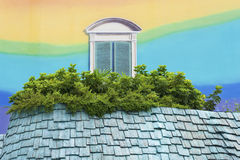 Roof with window. Colorful roof with fake window painting Royalty Free Stock Image