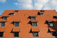 Roof and windows. Bromgerg city in Poland Royalty Free Stock Photography