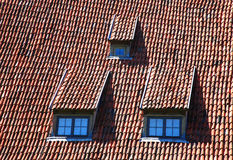 Roof-windows. Three roof-windows looking from the roof Stock Images