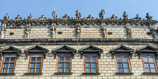 The roof and windows of the houses on the Market Square in Lviv. The roof and windows of the houses on the Market Square Royalty Free Stock Photography