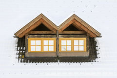 Roof windows under snow Royalty Free Stock Images