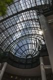 Through the roof of the Winter Garden in New York you can see the skyscrapers of Manhattan, United States of America. Through the roof of the Winter Garden in stock images