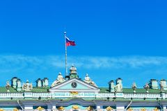 Roof of the winter Palace in St. Petersburg, against the sky, may 2018 royalty free stock photography