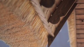 Roof of Wood and Straw. Ancient roof of wood and straw stock video