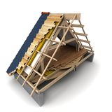 Roof wooden framework stock images