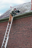 Roof Worker on Ladder. Roofing contractor on ladder repairing old slate roof stock photos
