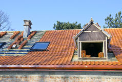 Roof works with ceramic tiles Stock Photos