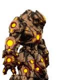Roofdier van woestijn en gele gloeiende robot op een witte achtergrond royalty-vrije illustratie