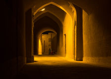 Roofed alley in old city of Yazd at night, Iran Stock Photo