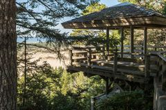Roofed gazebo in a high point of view over the dunes of Oregon stock photo