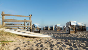 Roofed wicker beach chair. On the baltic Sea, Germany Stock Image