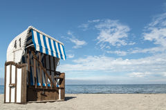 Roofed wicker beach chair. On the baltic Sea, Germany Stock Photography