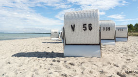 Roofed wicker beach chair. On the baltic Sea, Germany Royalty Free Stock Image