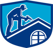 Roofer Construction Worker Working Shield Retro royalty free illustration