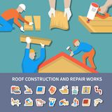 Roofer Flat And Colored Composition. With roof construction and repair works description vector illustration Royalty Free Stock Photo