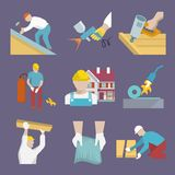 Roofer icons flat Royalty Free Stock Images
