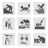 Roofer icons set stock illustration