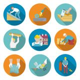 Roofer Icons Set Royalty Free Stock Photography