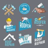 Roofer label set Stock Photos