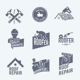 Roofer label set grey Royalty Free Stock Images
