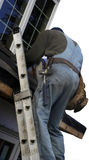 Roofer on the ladder. On white backgound for easy use Royalty Free Stock Images