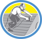 Roofer Roofing Worker Circle Retro Stock Photography