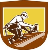 Roofer Roofing Worker Crest Shield Retro royalty free illustration
