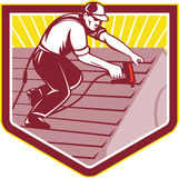 Roofer Roofing Worker Retro vector illustration