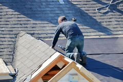 Roofer Using a Nail Gun royalty free stock image